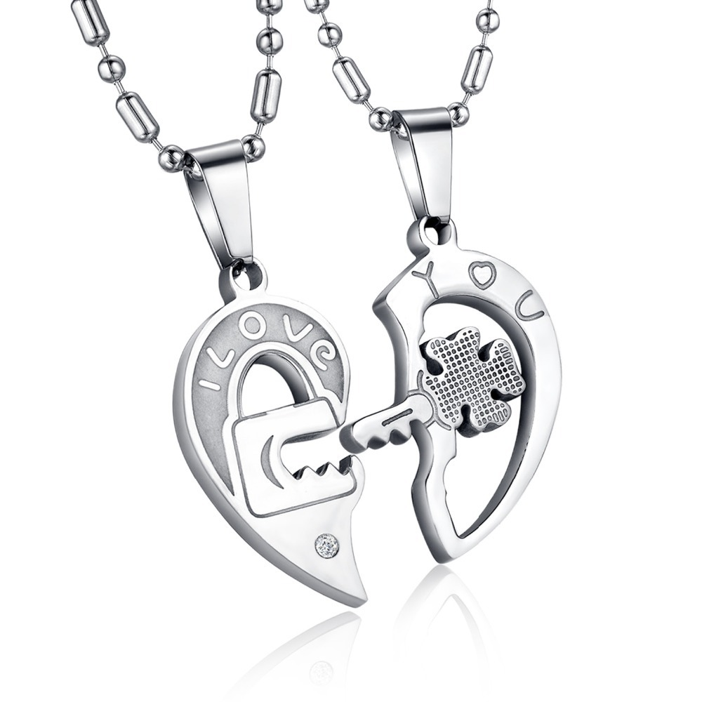 JEWELRY New Personality Heart and Key Puzzle Couple Necklace 316L Stainless Steel Cool Black Style 1 pair price GX553