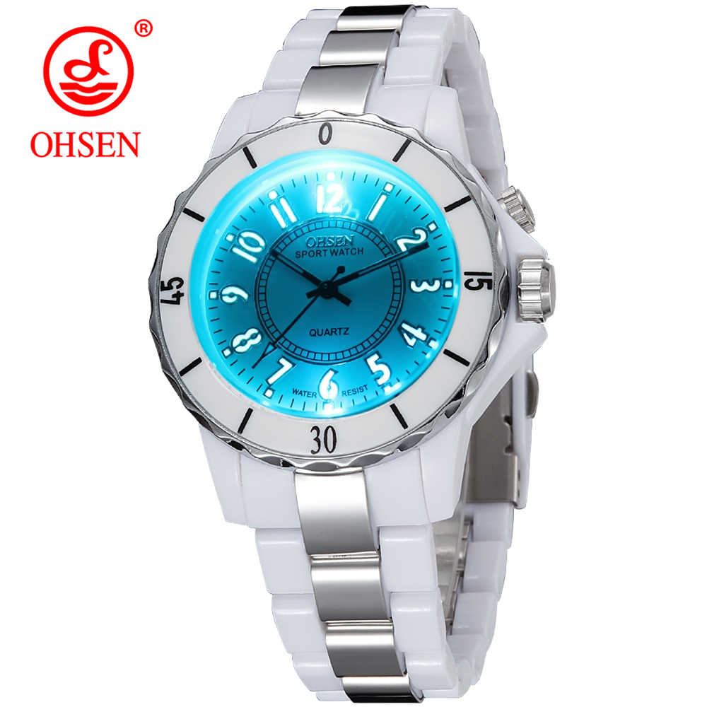 Hodinky OHSEN Women's Luxury Waterproof Sports Watches 7 Multi-color Led Light Clock Watch FG0736 Relogio Esportivo Feminino