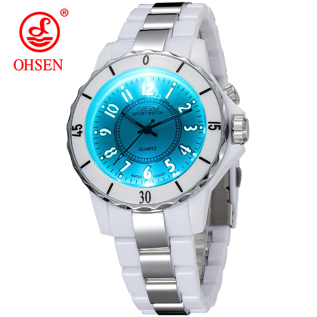 Hodinky OHSEN Women s Luxury Waterproof Sports Watches 7 Multi-color Led  Light Clock Watch FG0736 bc0c95e9156