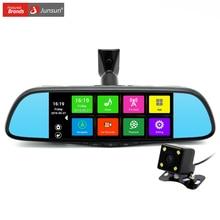 Junsun 7 pollice speciale macchina fotografica dell'automobile dvr specchio android 4.4 gps navigazione Bluetooth 16G Dual Lens FHD 1080 p Video Recorder Dash Cam