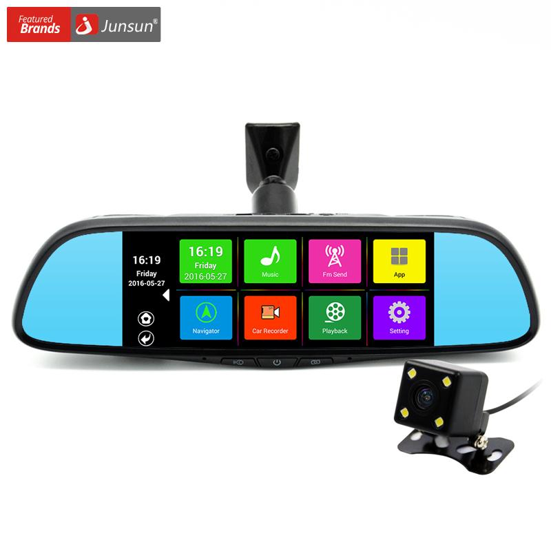 Prix pour Junsun 7 pouce spécial voiture dvr caméra miroir android 4.4 gps navigation Bluetooth 16G Double Objectif FHD 1080 p Enregistreur Vidéo Dash Cam