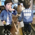 2017 Spring Autumn Fashion Children's Boys girl Kids Denim jacket Alphanumeric Clothes Travel Long sleeveJacket  Fashion18m-5T