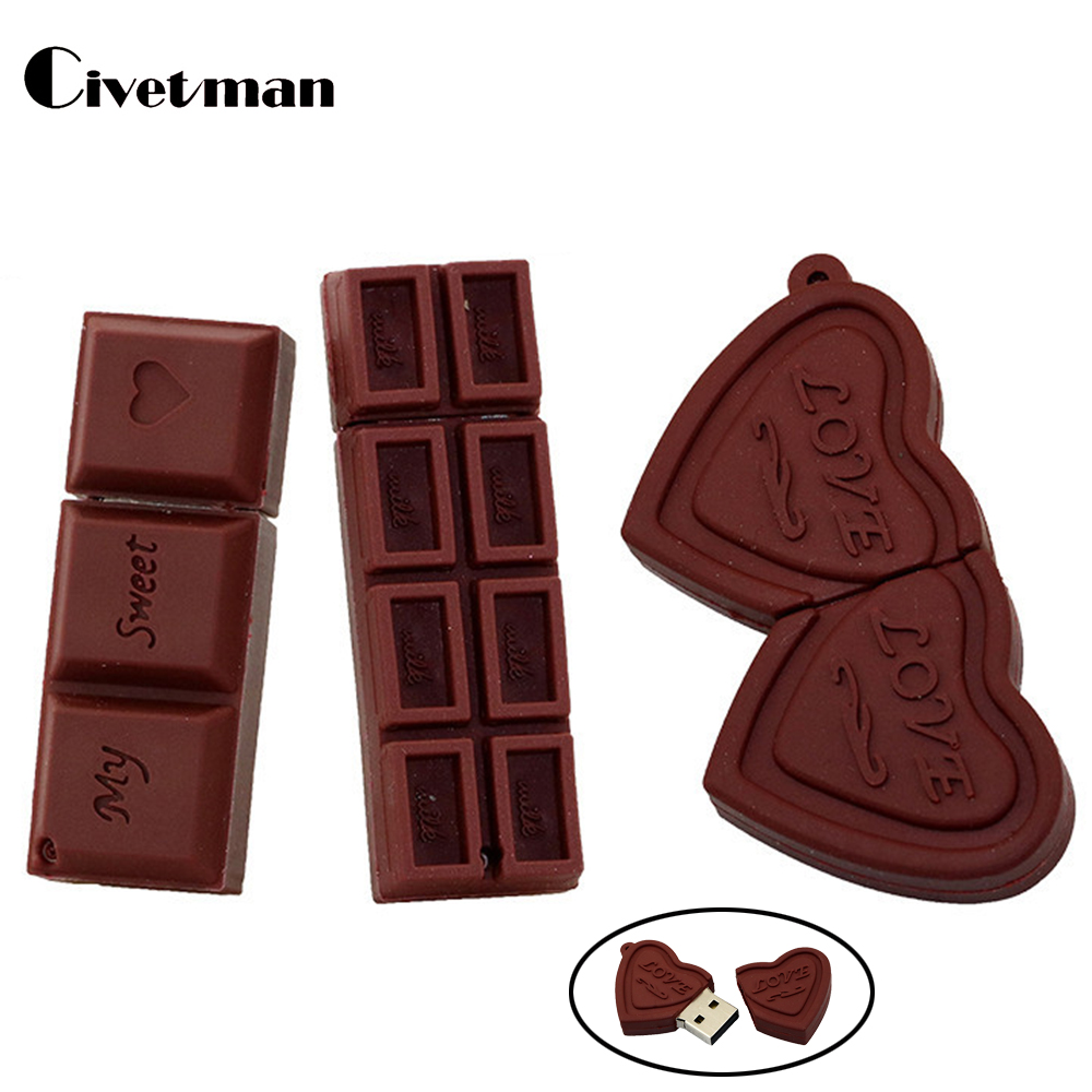 USB-flash Cartoon Love Sweet Chocolate Flash Drive 4GB 8GB 16GB 32GB 64GB USB 2.0 Flash Memory Stick USB Flash Drive Pendrive