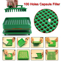 Newly 100 Holes Capsule Filler Board Food Grade ABS Filling Tools Fit for 0 Capsule 19ing