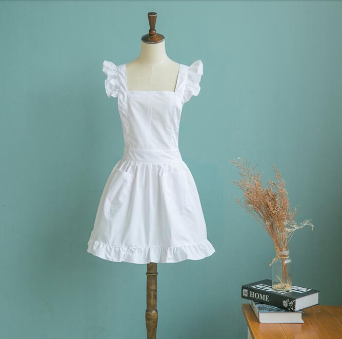 1 ud. Delantal elegante estilo victoriano de estilo japonés delantal de mucama traje de Bata de encaje volantes bolsillos Blanco/rosa