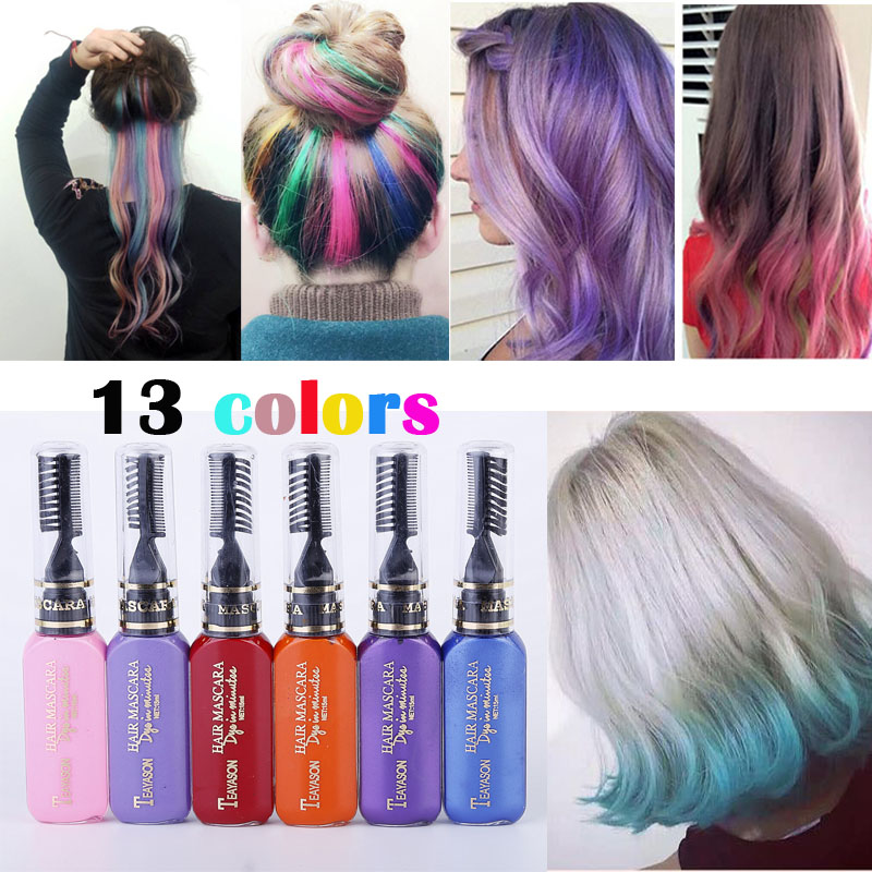 TEAYASON 13 Colors One-time Hair Color Hair Dye Temporary Non-toxic DIY Hair Color Mascara Dye Cream Blue Grey Purple