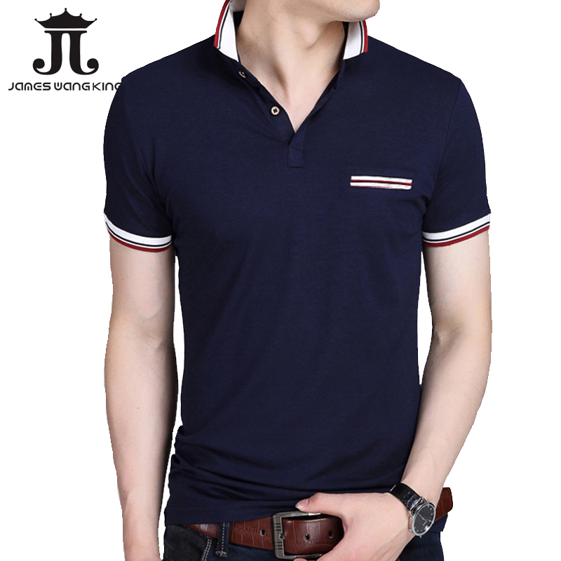 New 2018 summer mens   POLO   shirt striped lapel short-sleeved slim shirt men turn down casual breathable cotton   polo   shirt homme