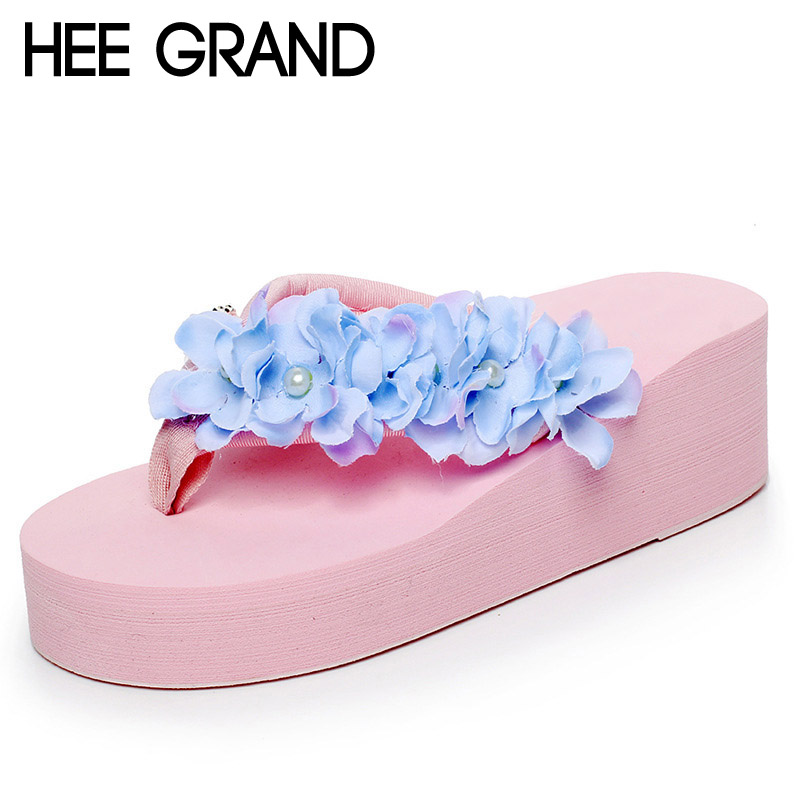 HEE GRAND 2017 New Flip Flops Summer Beach Platform Casual Shoes Woman Pearl Creepers Flowers Slip On Wedges 6 Colors XWT636 hee grand 2017 creepers summer platform gladiator sandals casual shoes woman slip on flats fashion silver women shoes xwz4074
