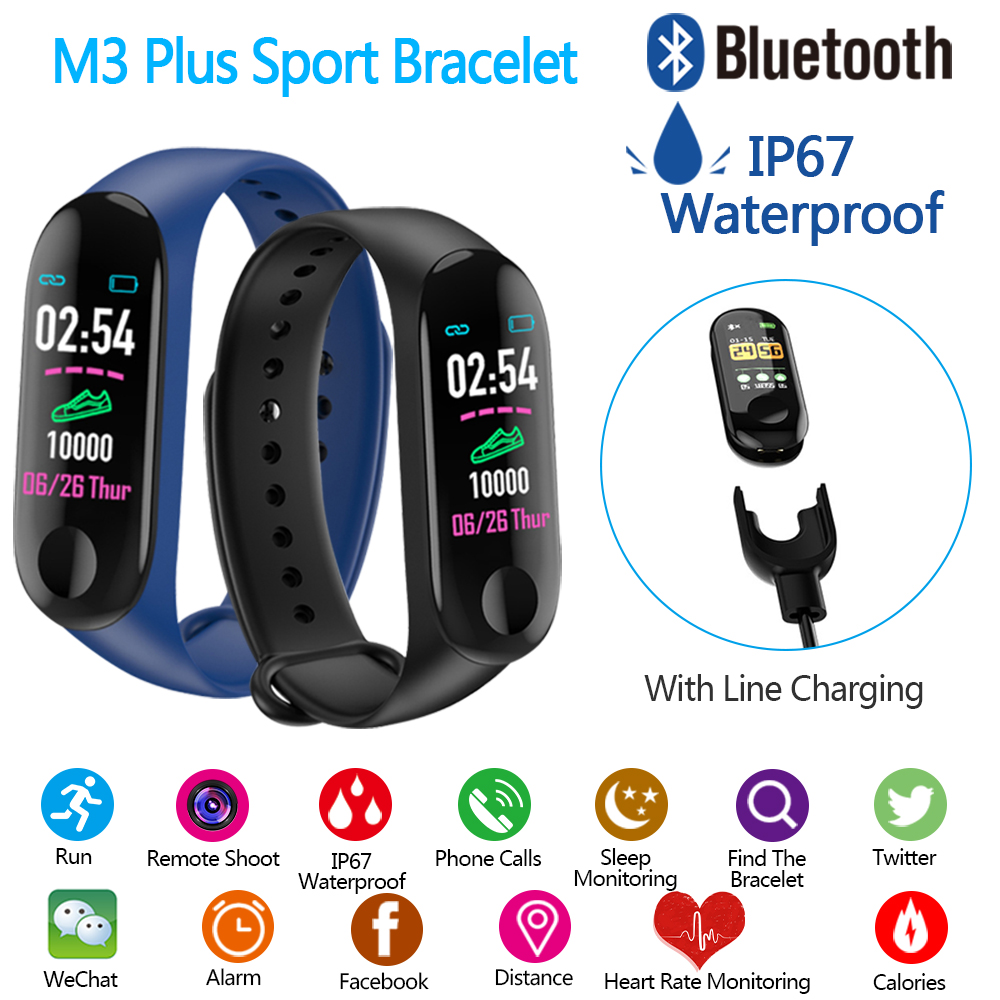M3 Plus Bluetooth Smart Bracelet Sports Pedometer Heart Rate Blood Pressure Monitor Fitness Running Tracker Smart Band