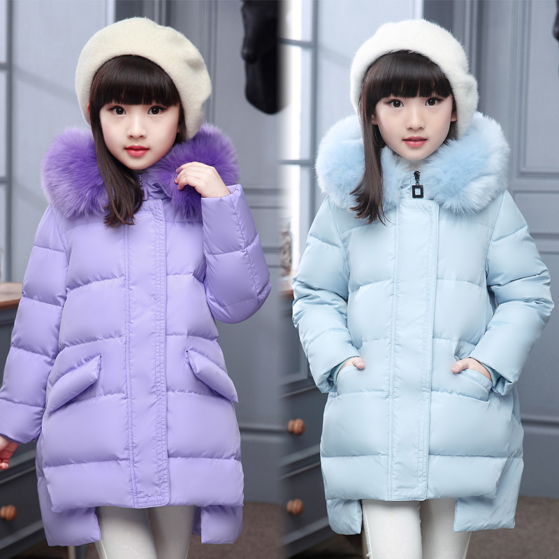 Girls Winter Parka Coats 2017 New Kid Long Thick Fur Collar Hooded Down Jackets Children Outerwear for Cold Winter Girls Clothes buenos ninos thick winter children jackets girls boys coats hooded raccoon fur collar kids outerwear duck down padded snowsuit