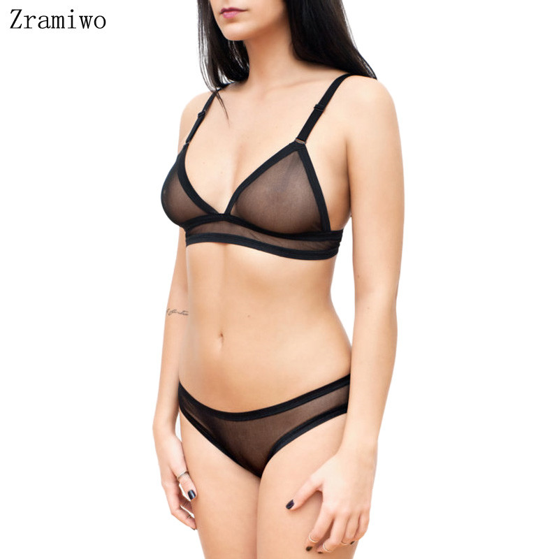 Mesh Bra Set See Through Bra Crotchless Panty Sheer Bralette Soft Cups Sexy Thong Lingerie For Women