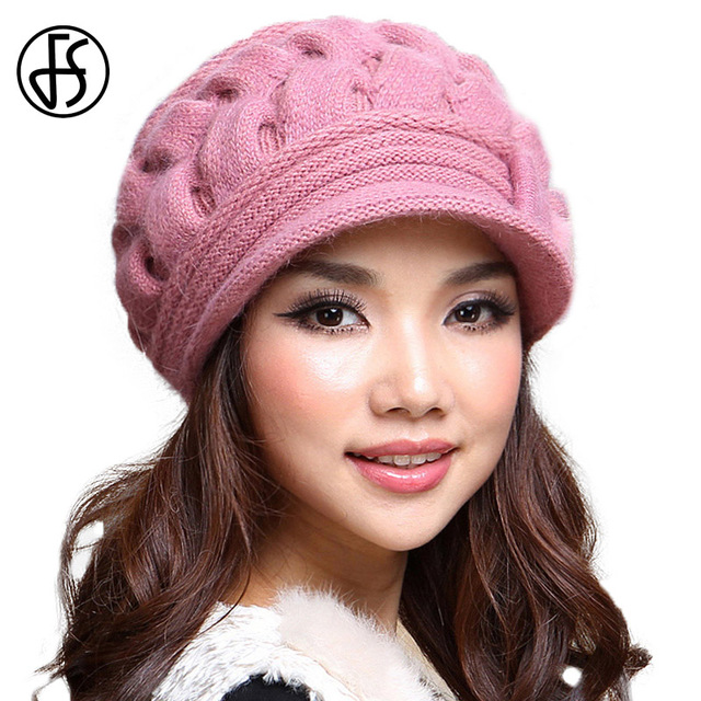 FS Wool Rabbit Fur Beanie Beret Hat Female Elegant Women Knitted Warm Winter  Berets Hats Autumn Winter Ladies Fashion Style 056a5631d3b2