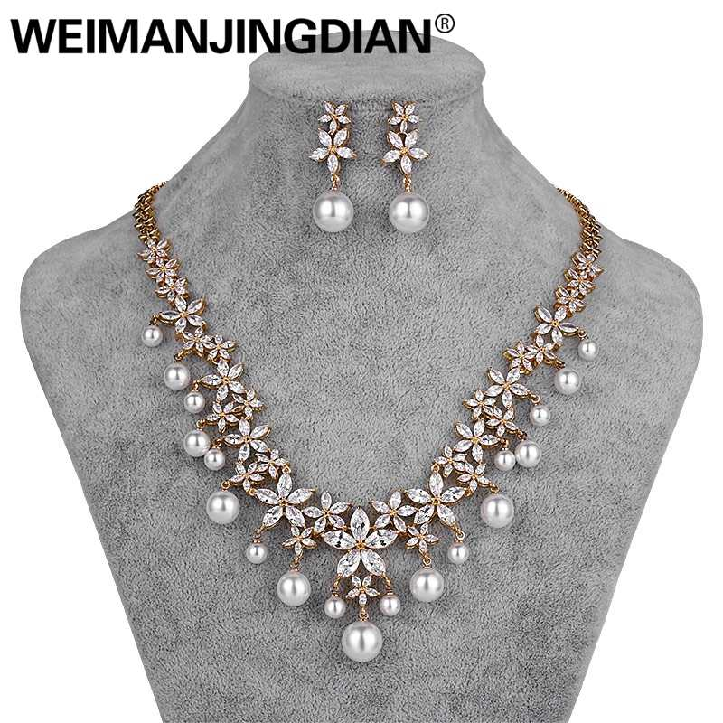 WEIMANJINGDIAN Flower Cubic Zirconia and Shell Pearl Necklace and Earring Wedding Bridal Jewelry Set in Silver / Gold Colors