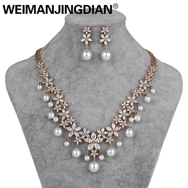 Brautschmuck Sets Weimanjingdian Blume Zirkonia Und Shell Perle Halskette Und Ohrring Hochzeit Braut Schmuck Set In Silber/gold Farben