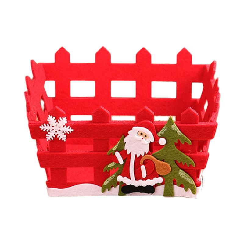 1 PC Candy Storage Basket Red Christmas Non-woven Hollow Storage Case Fruits Container Chocolate Xmas Gifts Home Decor