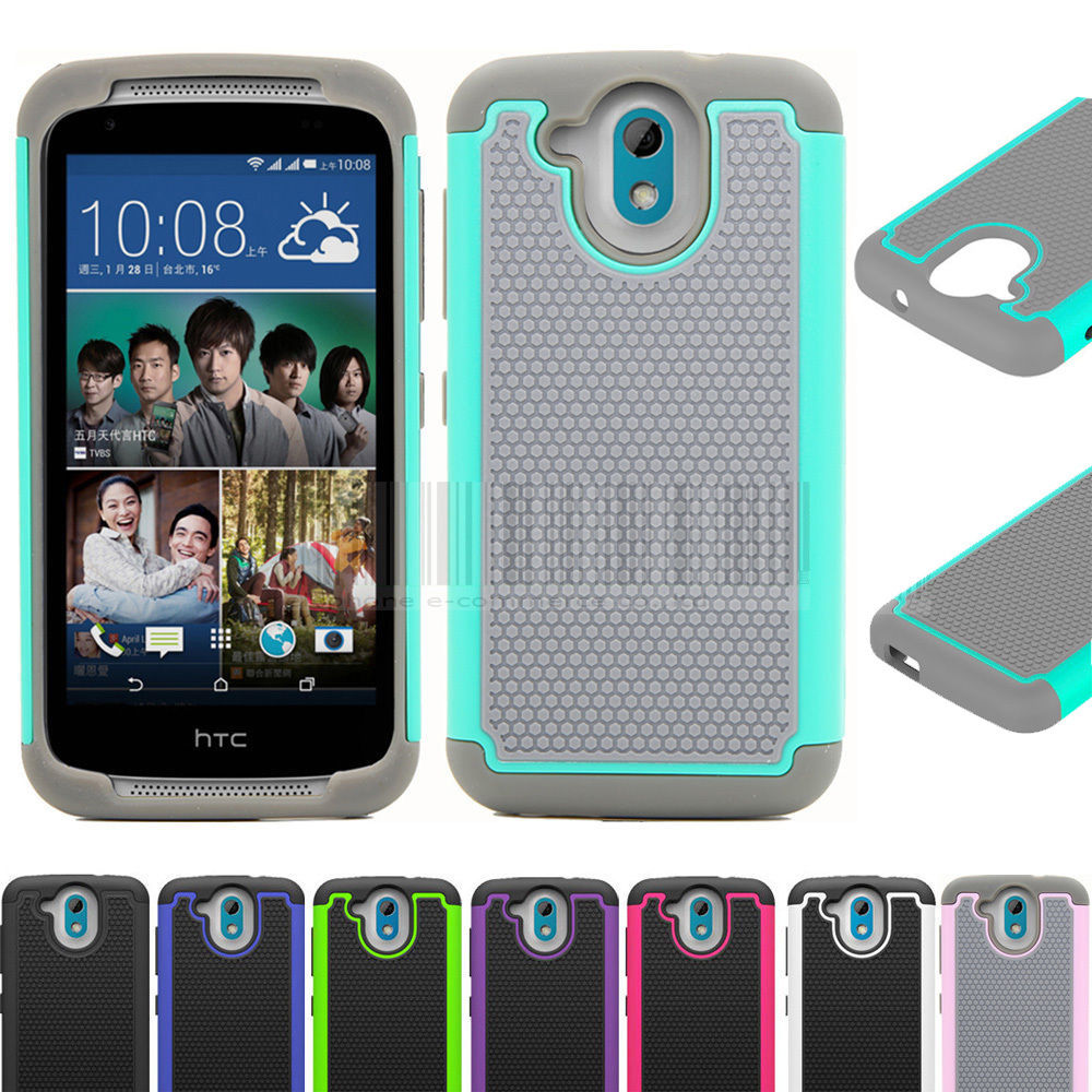 Dual Layer Impact Protective Hybrid Silicone Rubber Armor Hard Dual Layer Case Cover For HTC DESIRE 526 526G 526G+ D526 326 326G