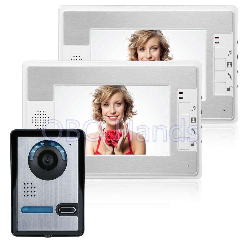 Best Price 7'' TFT Color Video door phone Intercom Doorbell System Kit IR Camera Doorphone Monitor Speakerphone Intercom 812FA12