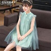 כפתור בציר שמלת מותג קיץ תינוקות בנות תינוקות ילדים לפעוטות בגדי Cheongsam סגנון פרחוני שמלות ערב הערב Vestidos