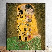 Hand Painted Gustav Klimt Oil Painting Kiss Handmade Abstract Figure Painting Wall Artwork for Living Room Home Decor Unframed