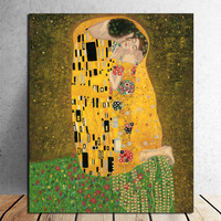 Hand Painted Gustav Klimt Oil Painting Kiss Handmade Abstract Figure Painting Wall Artwork for Living Room Home Decor Unframed