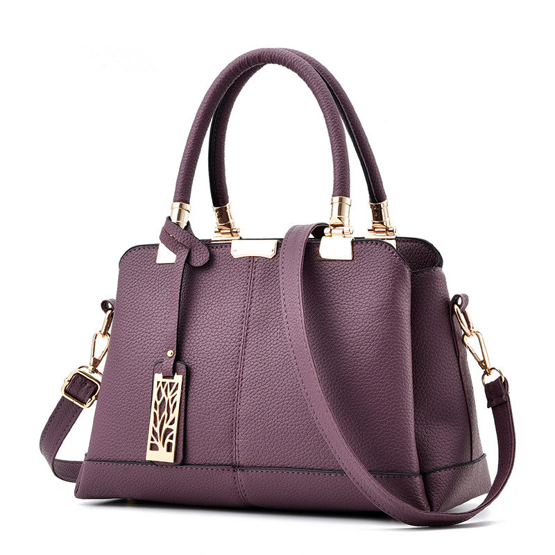 Elegant Purple Cusual PU Women Handbag Office Lady Tree Pendant Decoration Shoulder Bag Crossbody Messenger цена