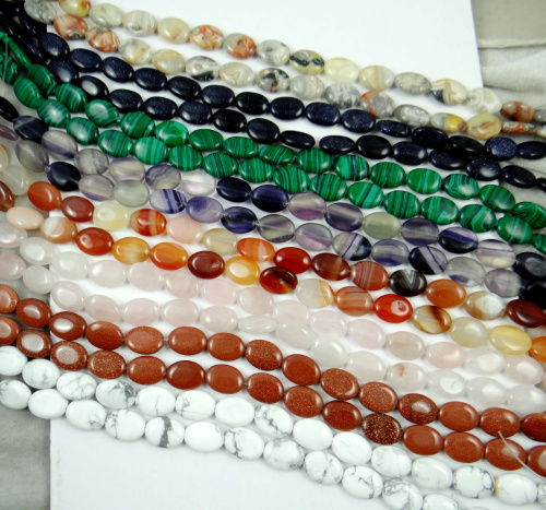 16 12MM Wholesale Natural Stone Oval Jewelry Making loose GEM beads strand 15 L35