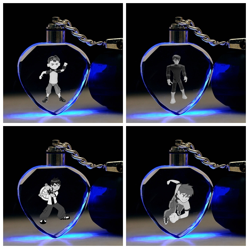 Action-Figures Ben-10 Toy-Chain Key-Collection Gifts Cartoon-Light Anime Boy LED Heart-Shaped