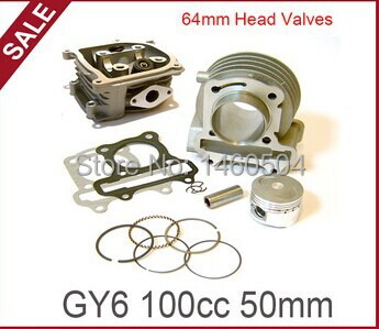 139QMB  GY6 50 cc upgrade to 50mm GY6 100cc big bore kit /cylinder kit + cylinder head assembly w/ 69mm valves, MADE IN TAIWAN!-in Pistons & Rings from Automobiles & Motorcycles    1
