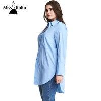 MissKoKo Big Size Women Clothing Side Split Solid Casual Loose Button Turn Down Collar Long Sleeve Plus Size T-shirt 4XL 5XL 6XL