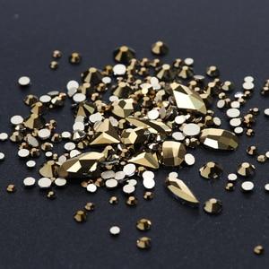 Image 3 - 1 תיבת מעורב 3D Rhinestones נייל אמנות קישוטי קריסטל אבני חן תכשיטי זהב AB מבריק אבנים קסם זכוכית מניקור אביזרי TR768