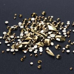 Image 3 - 1 kutu karışık 3D Rhinestones Nail Art süslemeleri kristal taşlar takı altın AB parlak taşlar Charm cam manikür aksesuarları TR768