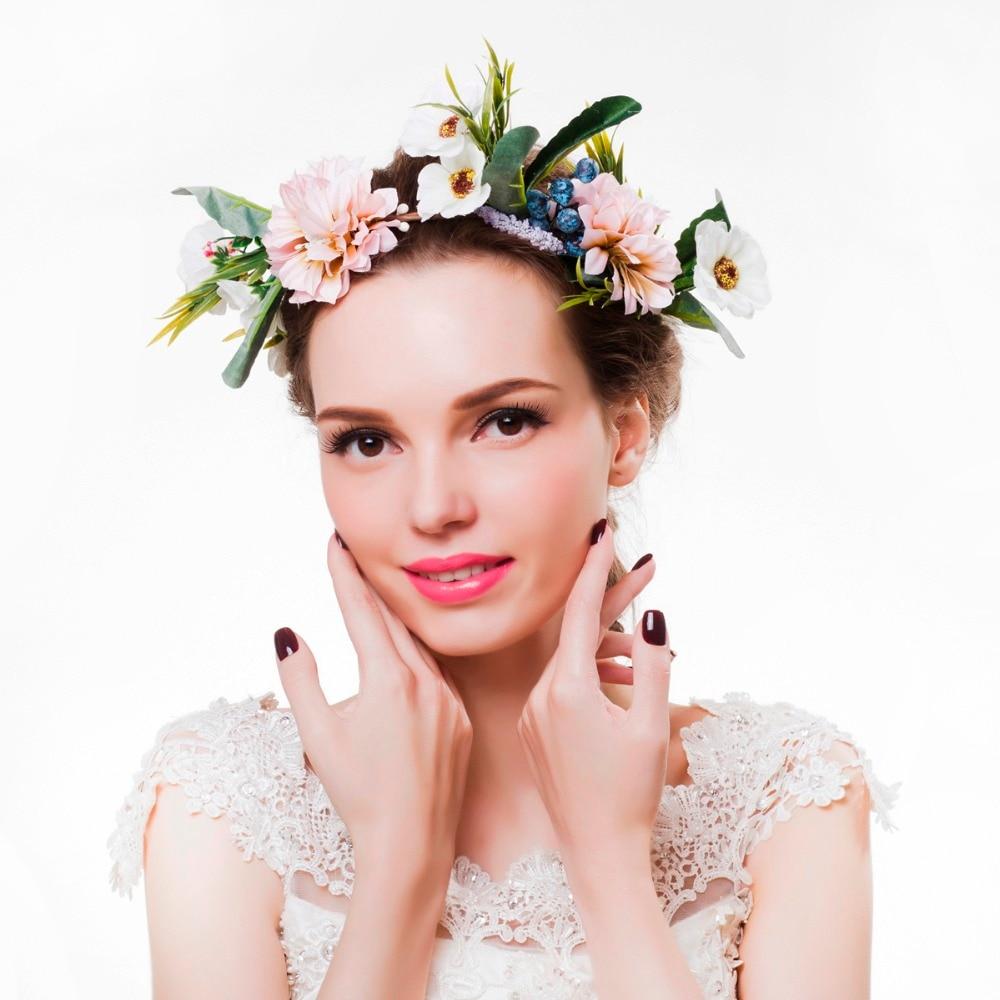 2018 Women Flower Crown Festival Wedding Girls Party Floral Headband ...