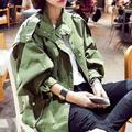 Весна осень новых женщин армия зеленый пальто шнурок свободно сюртук