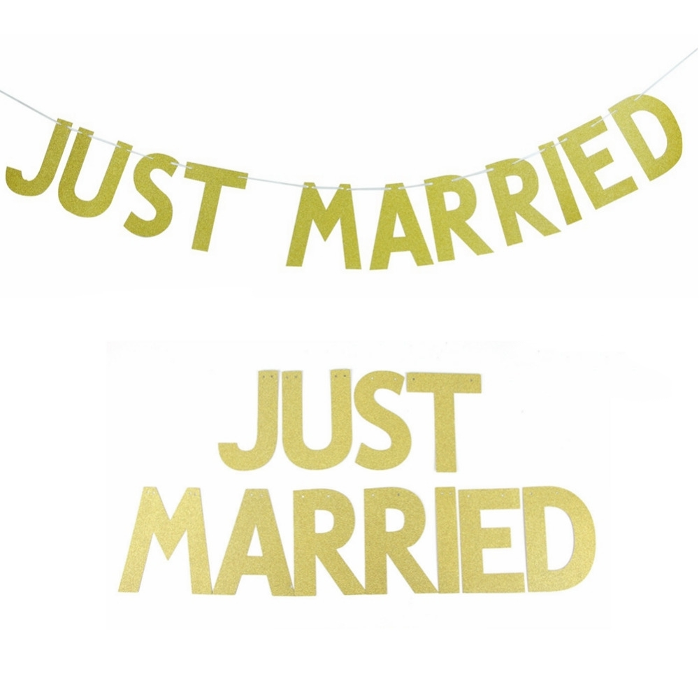 3M(10ft) JUST MARRIED Gold Glitter Banner Bunting Letter Banner Wedding Sign Wall Decor Bridal Shower Wedding Party Decoration