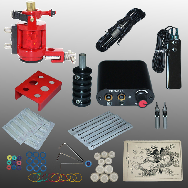 Complete Tattoo kits  tattoo guns machine black tattoo machine power supply disposable needle free shipping 1100601-4kitA