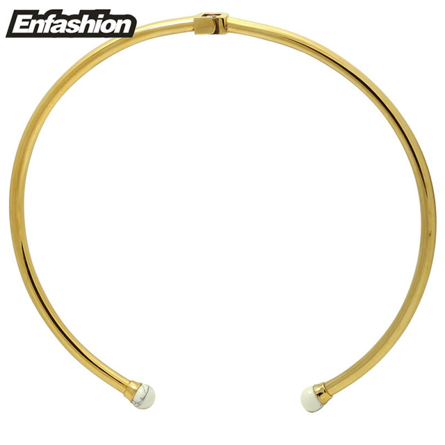 Enfashion Turquoise Necklaces Pendants Gold Plated Necklace Stainless Steel Choker Necklace For Women Jewelry Kolye Collier