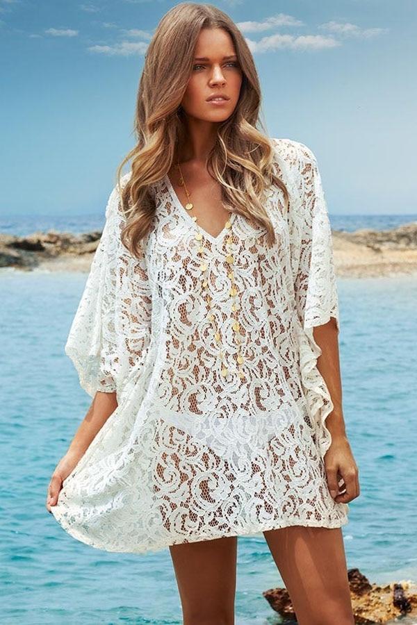 3d48d19e95 Sexy koronki okrycie plażowe Up sukienka bawełniana tunika nowe letnie  przybycia kobiety strój kąpielowy Sexy V Neck sukienka plażowa ochrona  przed słońcem ...