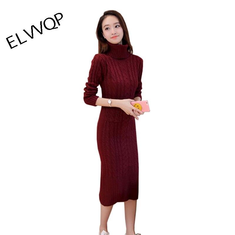 Nouveau femmes hiver pull Robe 2018 solide col roulé épais à manches longues mince bureau dame longue Robe à tricoter de luxe femmes Robe