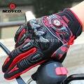 Fibra de carbono de cuero genuino guantes de moto dirt bike moto luvas párr motocross atv off road racing guante