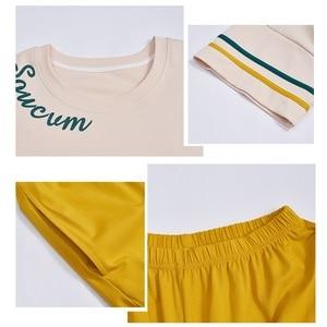Image 5 - New Women Pyjamas Cotton Short Tops Set Female Pajamas Set NightSuit Sleepwear Sets Long Pants Night Home Clothes For Women