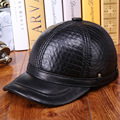 Elderly Men's Genuine Leather Nubuck Leather Hat Ear Warm Autumn Winter Hat Thick Cotton Cap  B-0607