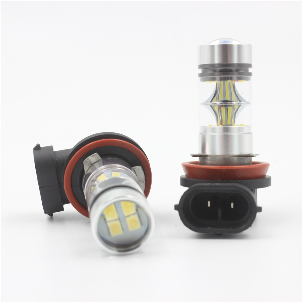 2Pcs 100W H8 H9 H11 H16(JP) Car LED Light Bulbs White 850LM High Power Headlight Xenon Fog DRL Light Source DC12V-24V
