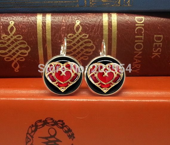▽2016 new arrival movie the legend of zelda heart stud earrings 2016 new arrival movie the legend of zelda heart stud earrings 12mm round for womens ladies brand cheap price 1pcs lot vintage