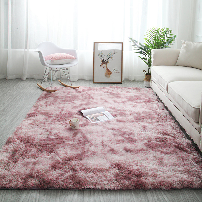 Nordic Gradient Carpet Living Room Bedroom Area Rug Fluffy Pink Carpet Kids Room Floor Mat Soft Sofa Home Large Carpet Custom