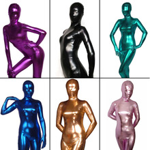 Womens Shiny Liquid Metallic Wet Look Bodysuit Skin Tight Spandex Full Body Zentai Suit Unitard Costume for Adult Unisex