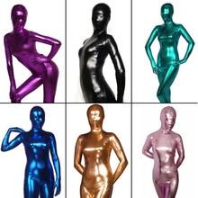 Women's Shiny Liquid Metallic Wet Look Bodysuit Skin Tight Spandex Full Body Zentai Suit Unitard Costume for Adult Unisex