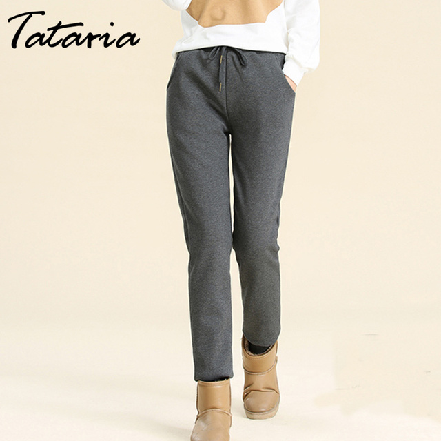 Winter Cashmere Harem Warm Pants Women's Velvet Thick Lambskin Cashmere Pants For Women loose Winter Causal Women trousers Warm
