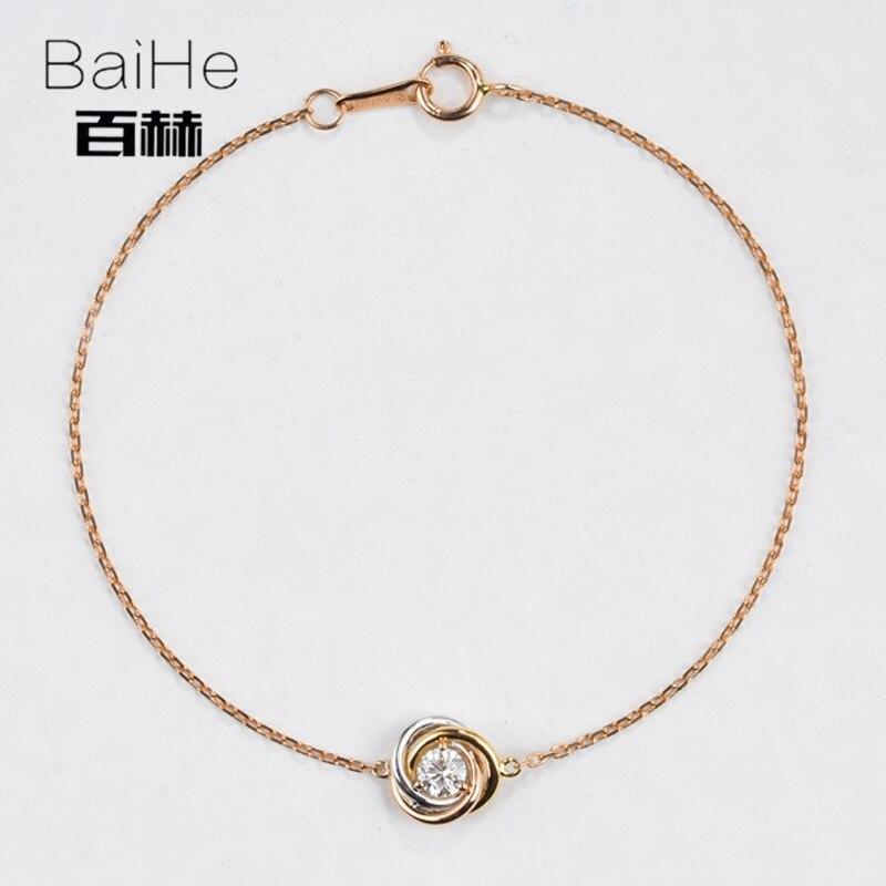 BAIHE Solid 14 К триколор золото 0.1ct Certified H/SI 100% из натуральной бриллиантами юбилей для женщин Мода Ювелирные Украшения Браслет