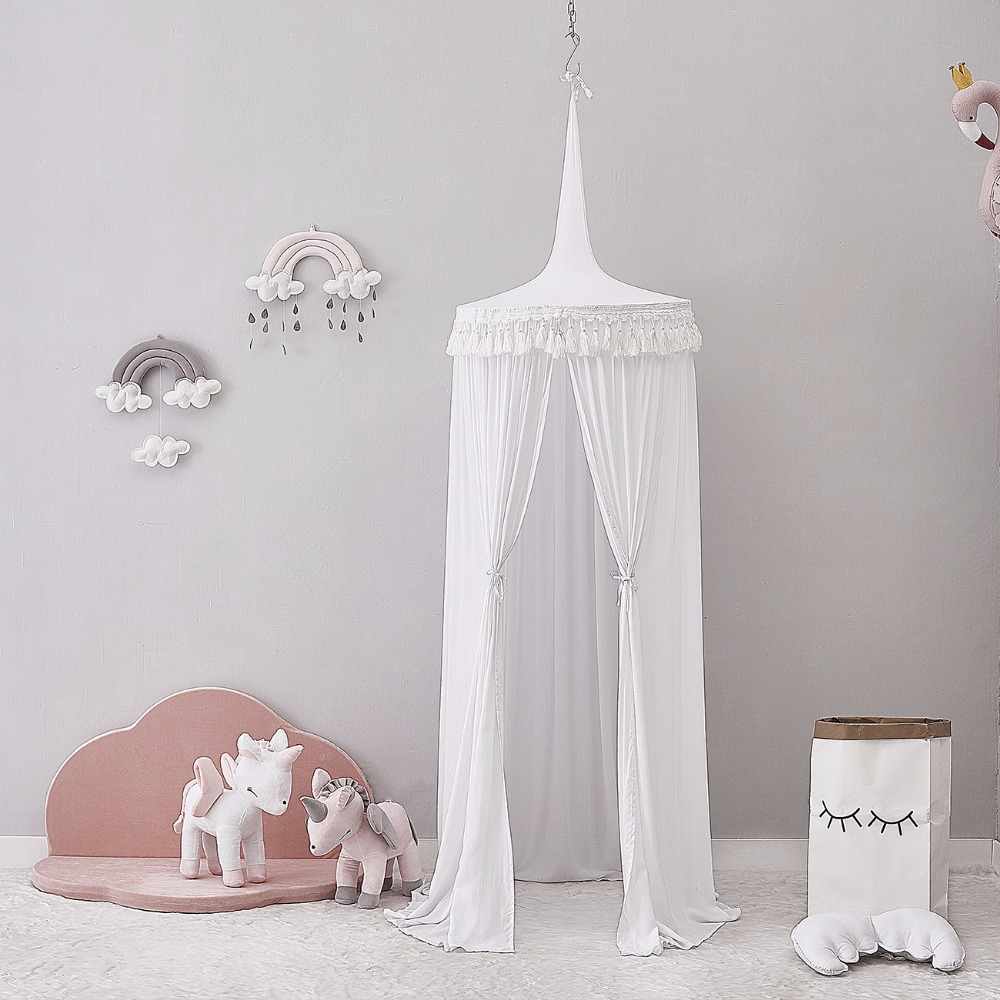 Fashion Children Bed Round Fringed Bed curtain Princess Bedding Boys & Girls Baby Room Bed Decor Dome Suspension Mosquito Nets