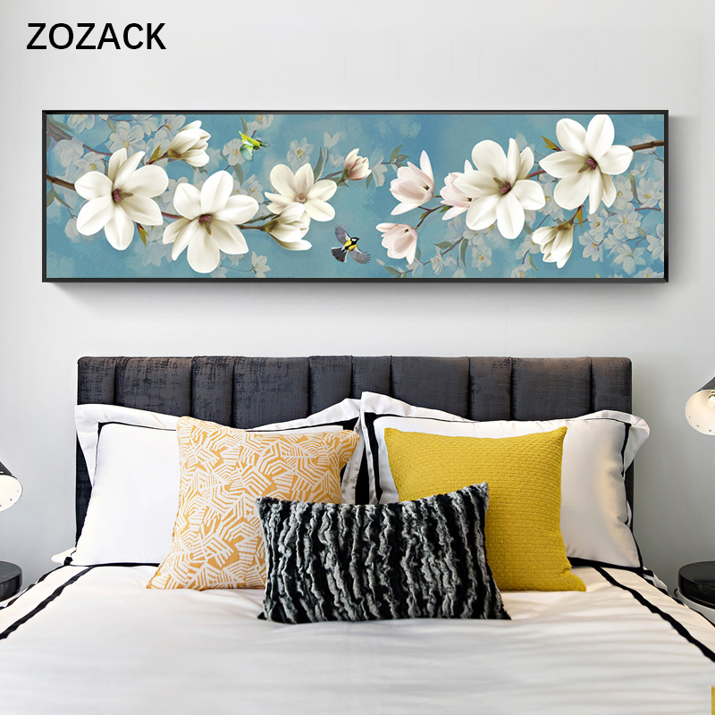 Zozack Cross Stitch Embroidery Kits 11CT Painted Magnolia Bird Flowers Pattern Printed On Canvas DIY Needlework DMC Home Decor